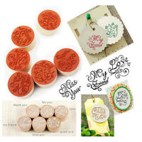 6Pcs Round New Handwriting Wishes Sentiment Wooden Rubber Round Stamps FlorF Yf