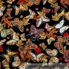 BonEful FABRIC FQ Cotton Quilt Black Fall Leaf Butterfly Gold Metallic Red Brown