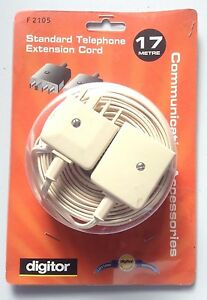 Digitor Standard Telephone Extension Cord F2105 - 17m - NEW
