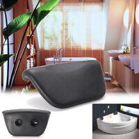 PU Black Bath Pillow Bathtub Spa Head Rest Neck Support Back Comfort Tub Holder