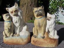 Pair Antique 19thC German Porcelain Pug and Spitz Dog Figures