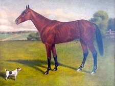 Antique American Racehorse Painting; Horse and Dog; J. William Johnson; 1903
