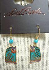 Laurel Burch Aztec Cat in Teal/Red #5085 Gold Plating Drop Earrings w/ Bead NWT