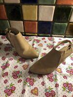 W BRAND Ladies Beige Faux Leather Block Heel Slingback Shoes UK Size 7 Eur 40
