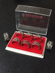 Widmann Silver Serviette Rings (small) 835 German Sterling Silver Set Of 8