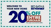 ➡️ FAST! Bed, Bath & Beyond—20% OFF ENTIRE Purchase-Online/In-Store-Exp. 1 year