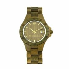 AB Aeterno Nature Envy Green Sandal Wood Gold Tone Brown Dial Men's Watch