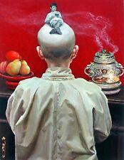 "Original Oil painting ""Serenity"" by Qi Debrah,Portrait,Surrealism,Size11""x14"",US"