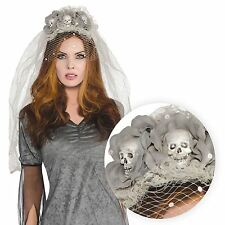 Adult Ghost Bride Skull Crown Tiara Halloween Headband Undead Zombie Wedding UK