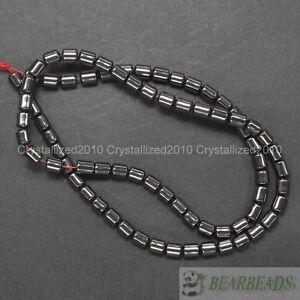 100pcs Natural Black Jet Hematite Gemstones Drum Spacer Beads 3mm 4mm 6mm 8mm