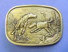 Vintage BRASS WESTERN BELT BUCKLE * RUNNING & BUCKING WILD HORSES American West