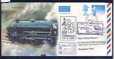 55010) LH SF Frankfurt - Hongkong 1.2.2001, postal stat.cover GB /UK Railroad 2