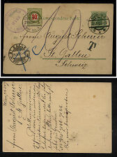 Austria  postal  card to  Switzerland  postage due  1907          KL0429