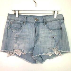 American eagle hi-rise shortie light wash crochet pocket size 8 denim shorts