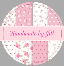 24 X 40mm Personalised Stickers Round Labels Vintage Rose Pink Floral Handmade