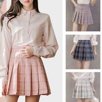 Fashion Women Girls Pleated Skirt School Dress High Plaid Waist Skirt Skirt Z2A2
