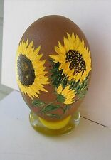 Artist Original Sday Hand Painted One-Of-A-Kind Yellow/Gold Sunflowers Emu Egg