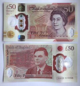 UNC England 50 Fifty Pound Banknote British John Sign NEW 2020 Turing AA Prefix