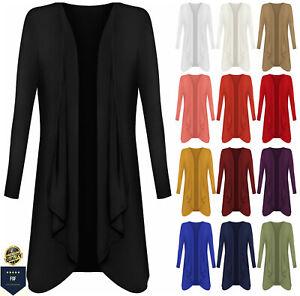 Womens Ladies Open Waterfall Cardigan Hanky Hem Jersey Plus Size Long Sleeve Top