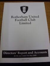 31/05/2000 Rotherham United Football Club: directores informe y cuentas para el