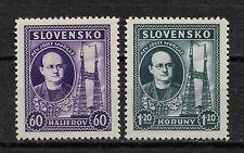 Slovakia 1939,Rev. Josef Murgas,Scott # 38-39,VF Mint*OG (MB-11)