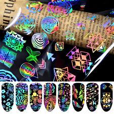 8 Sheets Set Holographic Laser Nail Art Foils Wraps Transfer Stickers Decals UK