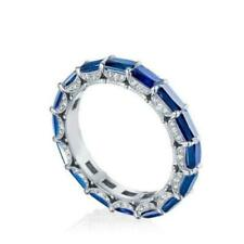 Emerald Cut Lab Created Sapphire With Round Cut 6.60 CT CZ Eternity Band 925 SS