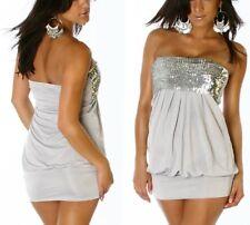 Sexy Damen Bandeau Glitzer Mini Kleid Dress Pailletten S/M 34/36 M/L 36/38 grau