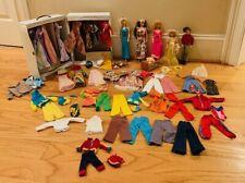 Vintage Barbie Lot 70's Dolls Clothes Outfits Case