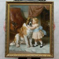 "Old Master-Art Antique Oil Painting Portrait girl dog on canvas 30""x40"""