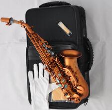 Top Matt Coffee Curved Soprano Saxophone sax High F# Abalone Shell Key New Case