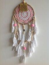 Gorgeous Pink & White Crochet Web Dream Catcher Room Decor 11.5cm x 45cm