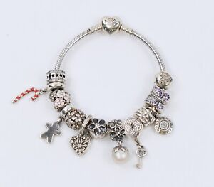 """Authentic Pandora Sterling Silver Moments Heart Bracelet 7.25"""" 12 Charms Retired"""
