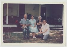 Vintage 60s PHOTO Group Adults Family w/ Kitty Cat Sitting Outdoors