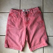 Abercrombie & Fitch Men's Red Pink Distressed Cotton Denim Bermuda Shorts 30 Euc