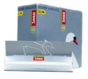 SWAN SILVER KING SIZE SLIM RIZLA GENUINE ROLLING PAPERS - BOX OF 50