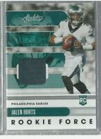 Jalen Hurts 2020 Panini Absolute Rookie Force Rookie Patch Eagles NFL!!