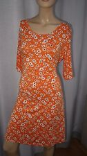 AC NEXT orange ditsy floral jersey skater casual day dress open back cut out 14u