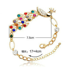 Vintage Gold Colorful Crystal Peacock Bangle Bracelet Bird Rhinestone Hand Chain