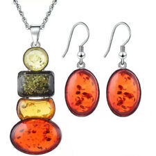 BL_ Fashion Artificial Amber Long Pendant Necklace Earrings Set Women Jewelry Se