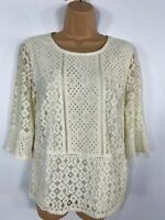 WOMENS OASIS CREAM FLORAL LACE 3/4 SLEEVE SMART CASUAL SUMMER BLOUSE TOP MEDIUM