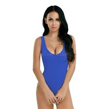 Women Sleeveless Bodysuit High Cut Leotard Stretch Top Blouse Thong Body Suit