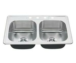 American Standard Colony Pro Drop-In Stainless Steel 33 in. 4-Hole Double Bowl