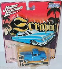 Scrapin - 1955 CHEVY CAMEO PICKUP - blue/pinstripes- 1:64 Johnny Lightning