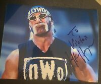 HULK HOGAN SIGNED 8X10 PHOTO WWE WWF HULKAMANIA HOLLYWOOD W/COA+PROOF RARE WOW