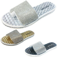 Womens Ladies Diamante Flip Flops Summer Holiday Toe Post Slider Mule Sandals