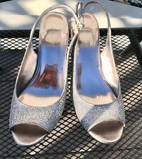 Silver Nine West High Heel Shoe  Size 9 - Princess Silver Open Toe Platforms