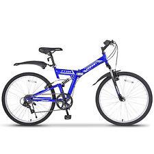 """26"""" Folding Mountain Bike Foldable Hybrid Bike 7 Speeds & Full Suspension Blue"""