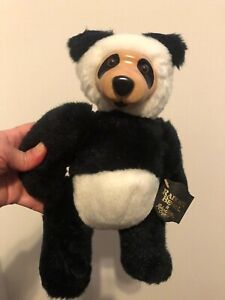Robert Raikes Panda Bear 30303 Signed Wood Face Plush Black Tag 11 in Tall
