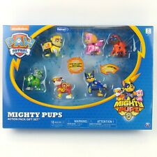 New Paw Patrol Mighty Pups 6 Pack Gift Set Figures  w/ Light Up Badges & Paws